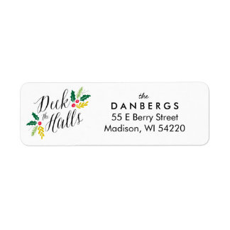 Deck the Halls Holly Berries return address label