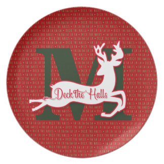 Deck the Halls in Red and Green Reindeer Plate