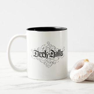 Deck the Halls Modern Black Flourished Lettering Two-Tone Coffee Mug