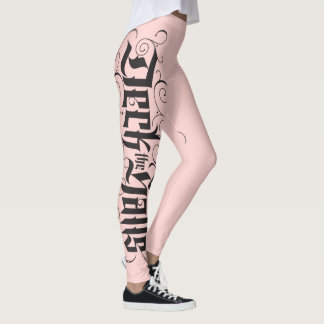 Deck the Halls Modern Lettering Blush Pink Black Leggings