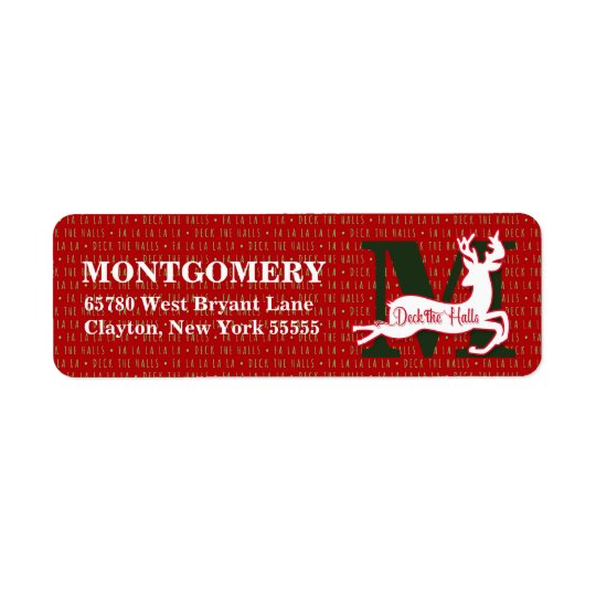 Deck the Halls Monogrammed White Reindeer Return Address Label