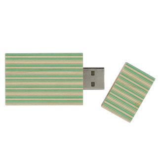 Deckchair Stripes in Tiffany Aqua Blue Wood USB 2.0 Flash Drive