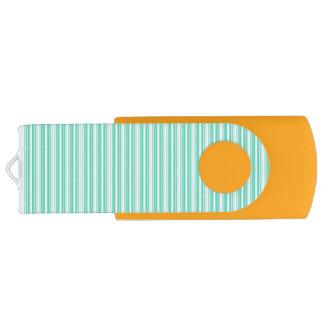 Deckchair Stripes in Tiffany Aqua Blue Swivel USB 2.0 Flash Drive