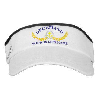 Deckhand personalized boat name anchor motif visor