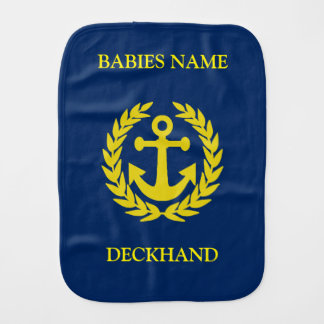 Deckhand with boat anchor burp cloth