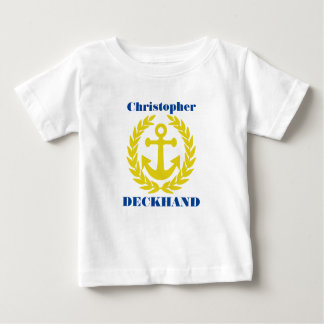 Deckhand with boat name and anchor motif baby T-Shirt
