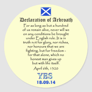 Declaration of Arbroath Scottish Independence Round Stickers