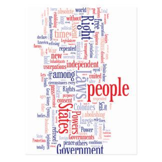 Declaration of Independance Word Cloud Postcards