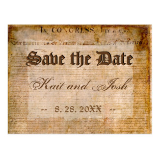 Declaration of Independence 1776 Save the Date Postcard