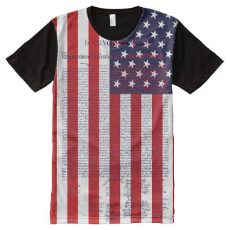 Declaration of Independence American Flag All-Over Print T-Shirt