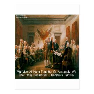 Declaration Of Independence & Ben Franklin Quote Postcard