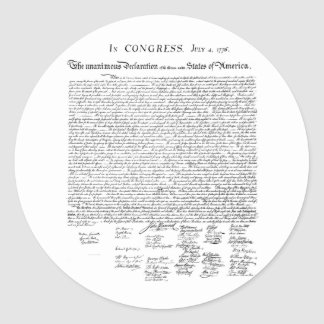 Declaration of Independence Classic Round Sticker