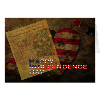 Declaration of Independence & Flag 4th of July Card