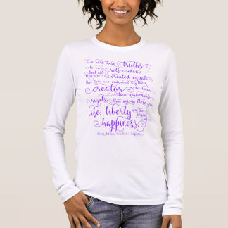 Declaration of Independence, Purple Print Long Sleeve T-Shirt