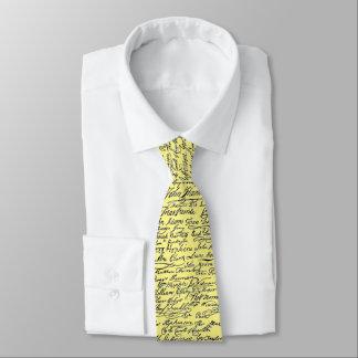 Declaration of Independence Signatures U.S. Hstory Tie