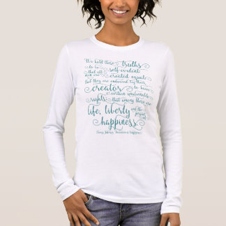 Declaration of Independence, Teal Print Long Sleeve T-Shirt