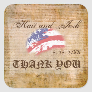 Declaration of Independence USA  Patriot Thank You Square Sticker