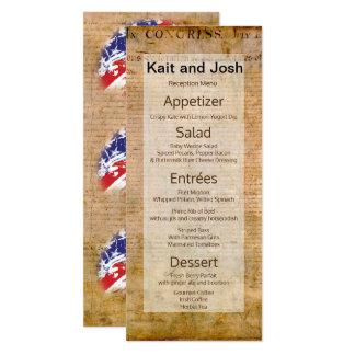 Declaration of Independence USA Patriotic Menu Card