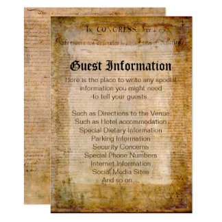 Declaration of Independence USA Wedding Insert Card