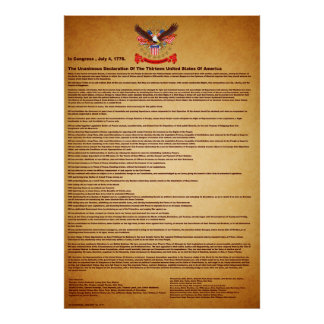 "Declaration of Independence V-2-Style-1 40""X60"" Poster"
