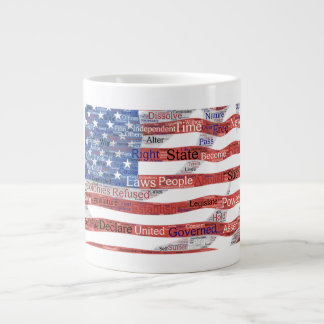 Declaration of Independence Word Cloud on Flag Large Coffee Mug