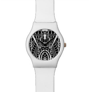 Deco Architectural Pattern, Black and White Watch