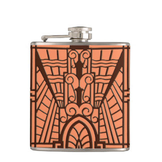 Deco Architectural Pattern, Copper and Brown Hip Flask