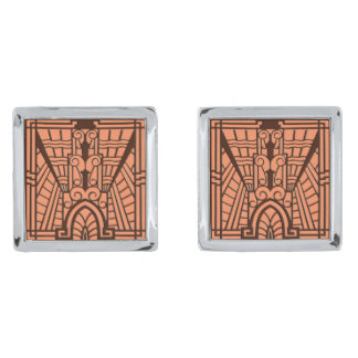 Deco Architectural Pattern, Copper and Brown Silver Finish Cufflinks