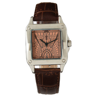 Deco Architectural Pattern, Copper and Brown Watch
