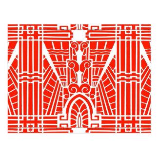 Deco Architectural Pattern, Mandarin Orange Postcard