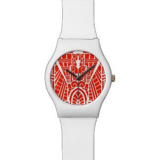 Deco Architectural Pattern, Mandarin Orange Watch