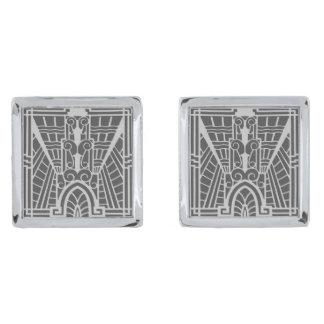 Deco Architectural Pattern, Silver Gray / Grey Silver Finish Cuff Links