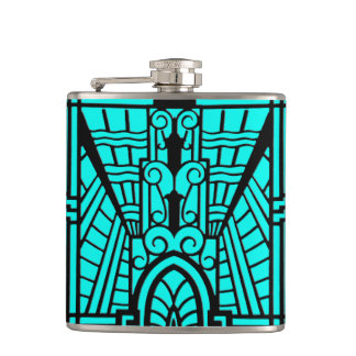 Deco Architectural Pattern, Turquoise and Black Hip Flask