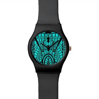 Deco Architectural Pattern, Turquoise and Black Watch