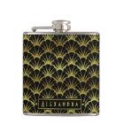 Deco Black Gold Scallop Shells Fan Custom Hip Flask