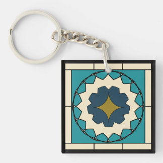 Deco Blue Tile Design Double-Sided Square Acrylic Key Ring