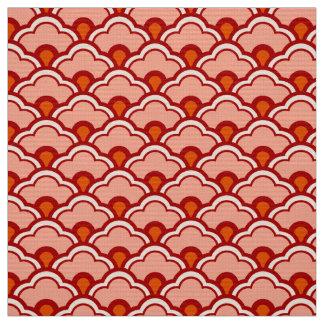 Deco Chinese Scallops, Peach, Rust and Cream Fabric