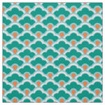 Deco Chinese Scallops, Teal, Aqua and Coral Fabric