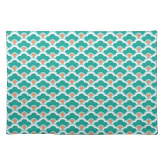 Deco Chinese Scallops, Teal, Aqua and Coral Placemats