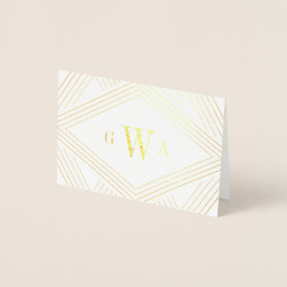 Deco Diamond Monogrammed Gold Foil Stationery Card