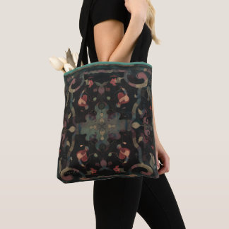 Deco Distressed Boho Pattern Muted Pinks on Dark Tote Bag