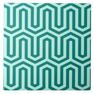 Deco Egyptian motif - turquoise and aqua Ceramic Tile