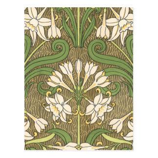 Deco Floral White Postcard
