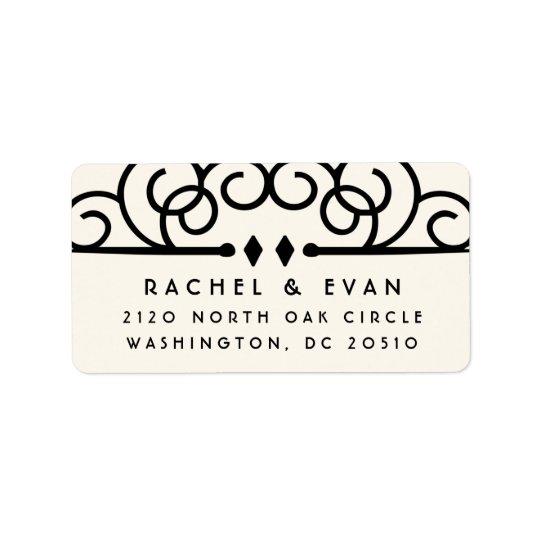 Deco Flourish Oversized Return Address   Ivory Label