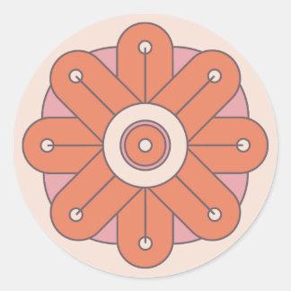 Deco Flowers - Orange Round Sticker