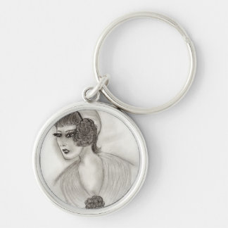 Deco Girl 4 Silver-Colored Round Key Ring