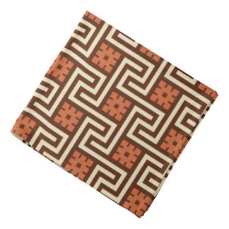 Deco Greek Key, Brown, Beige and Rust Bandana
