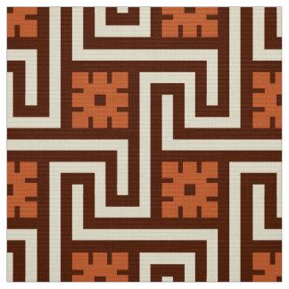 Deco Greek Key, Brown, Beige and Rust Fabric