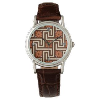 Deco Greek Key, Brown, Beige and Rust Watch