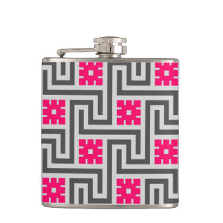 Deco Greek Key, Grey / Gray and Fuchsia Pink Hip Flask
